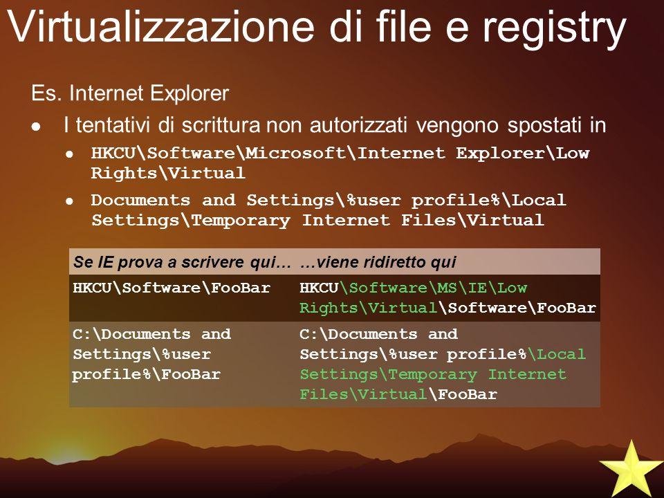 Virtualizzazione di file e registry