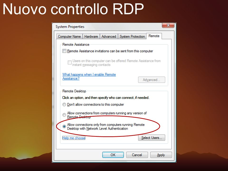 Nuovo controllo RDP What is Network Level Authentication