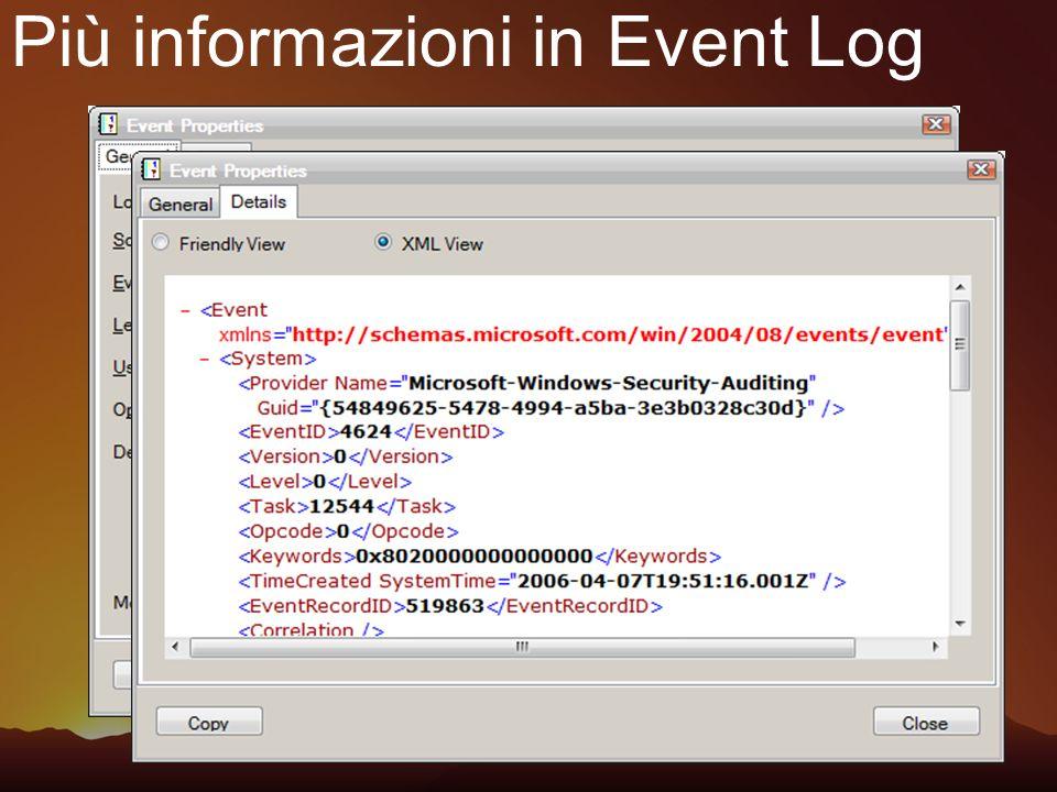 Più informazioni in Event Log