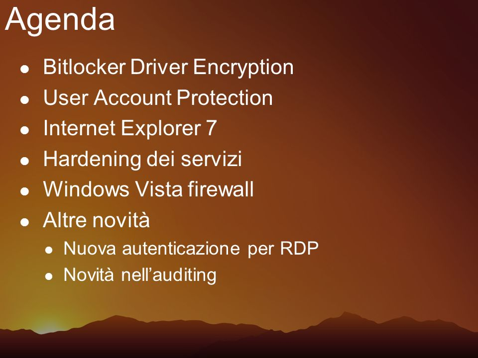 Agenda Bitlocker Driver Encryption User Account Protection