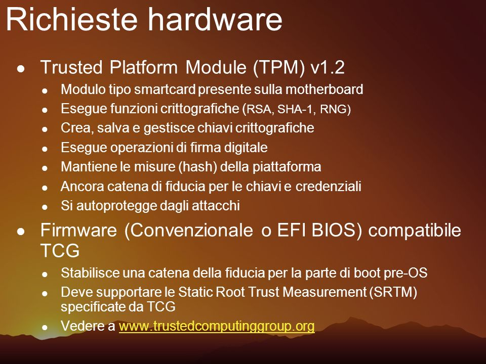 Richieste hardware Trusted Platform Module (TPM) v1.2