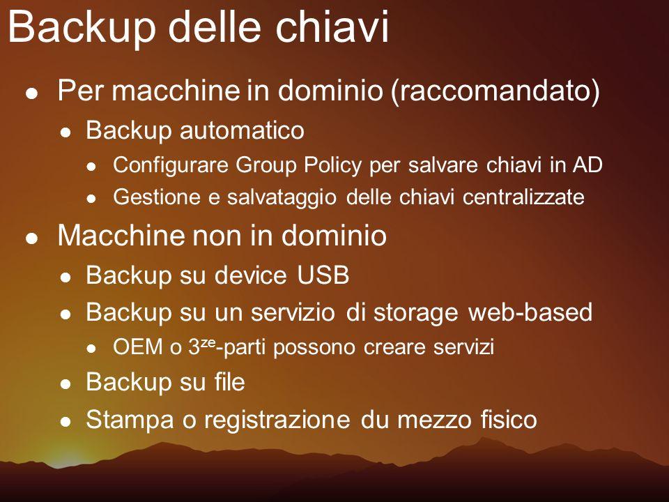 Backup delle chiavi Per macchine in dominio (raccomandato)