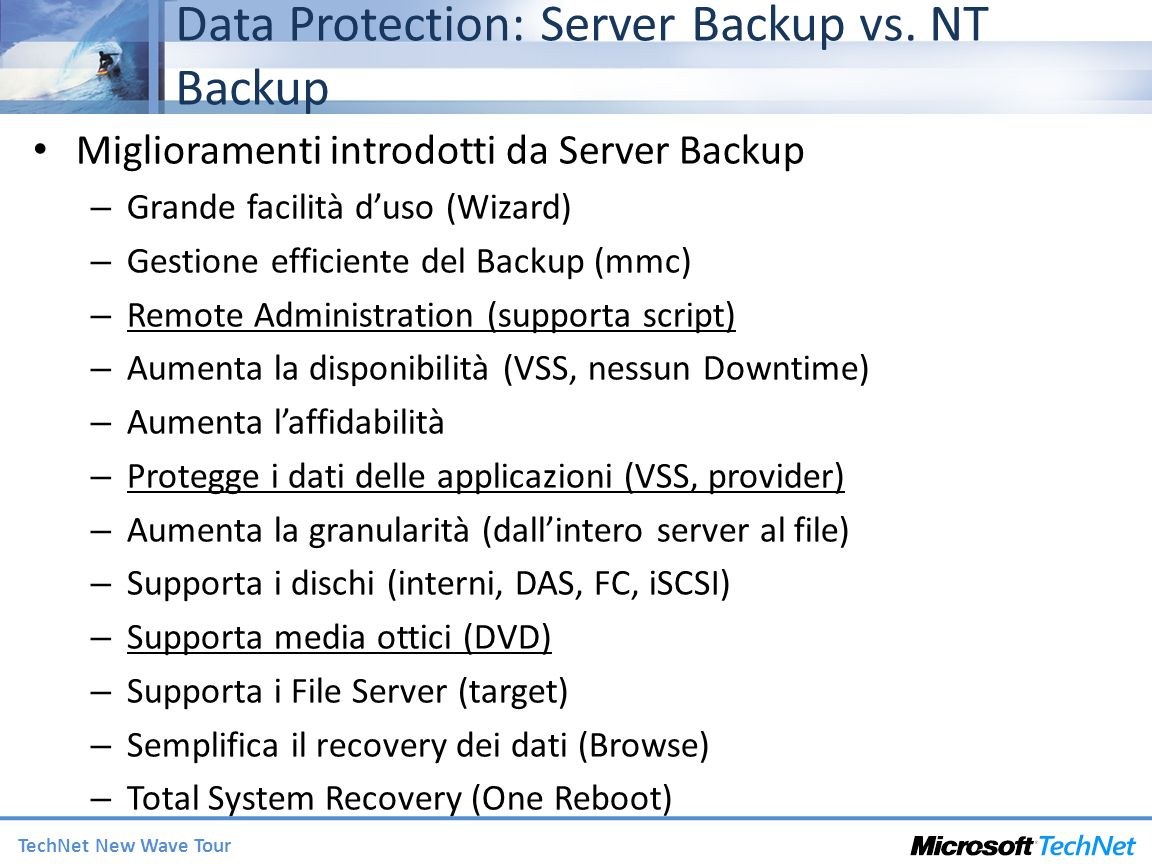 Data Protection: Server Backup vs. NT Backup