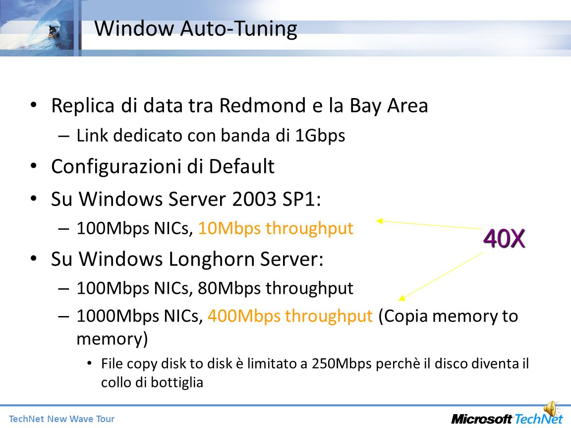 40X Window Auto-Tuning Replica di data tra Redmond e la Bay Area