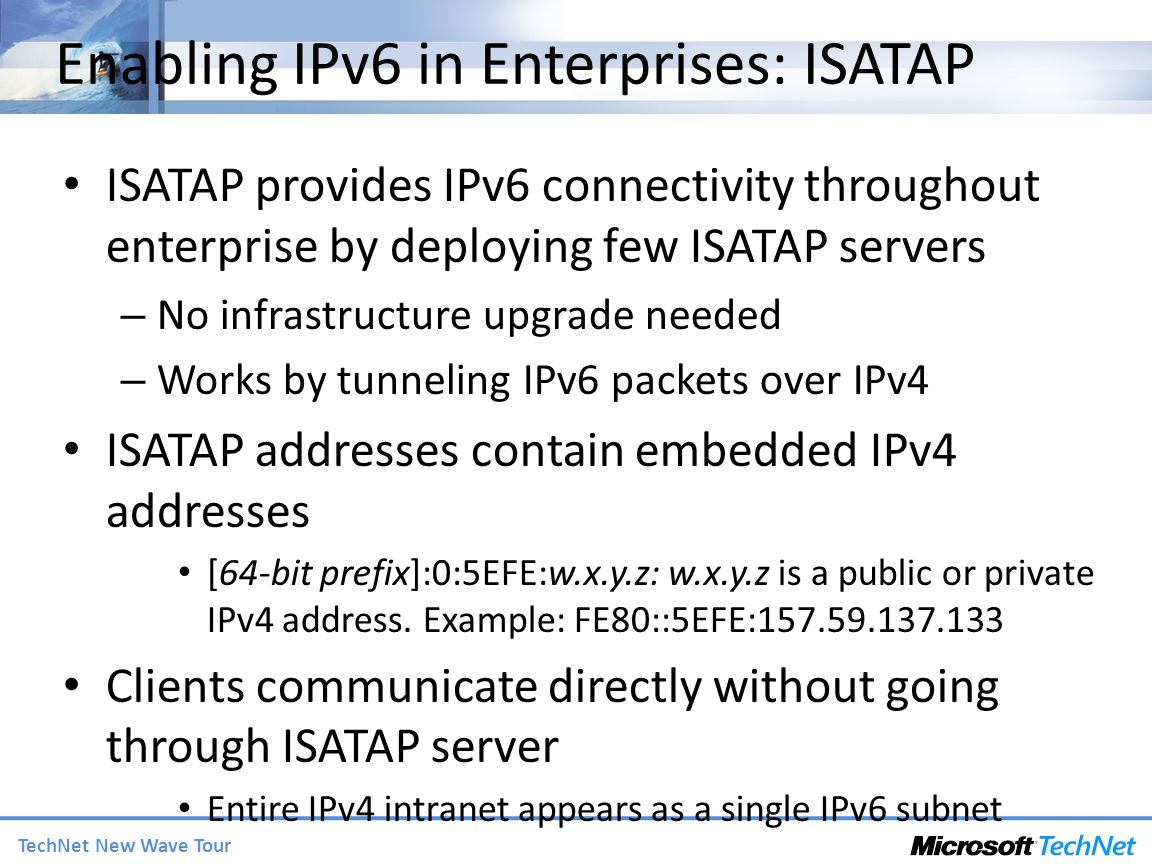Enabling IPv6 in Enterprises: ISATAP