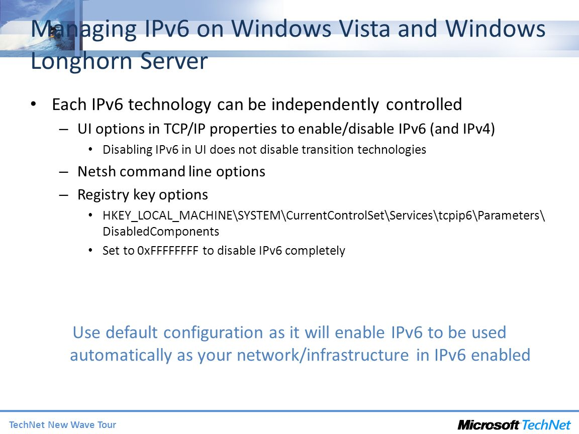 Managing IPv6 on Windows Vista and Windows Longhorn Server
