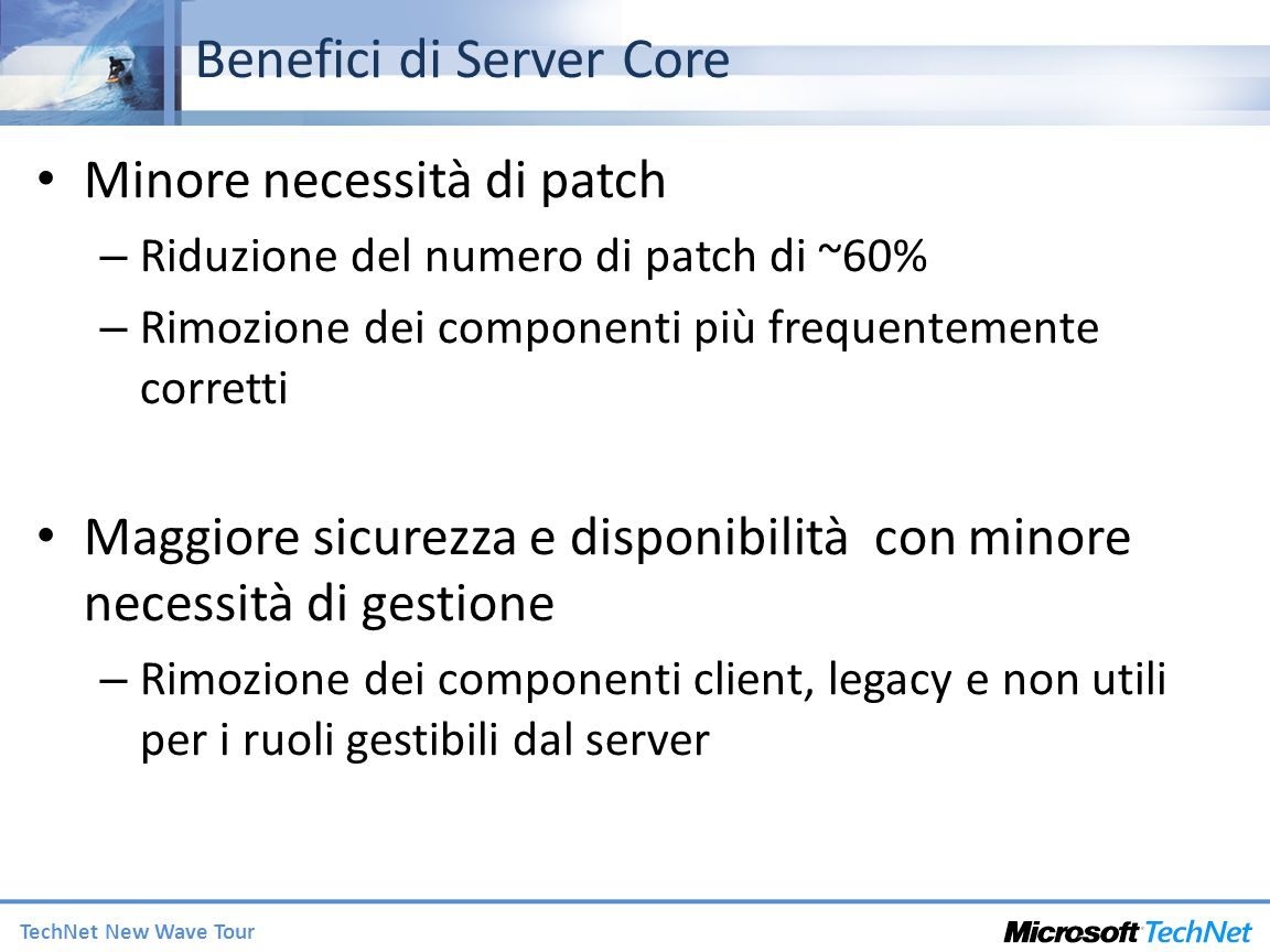 Benefici di Server Core