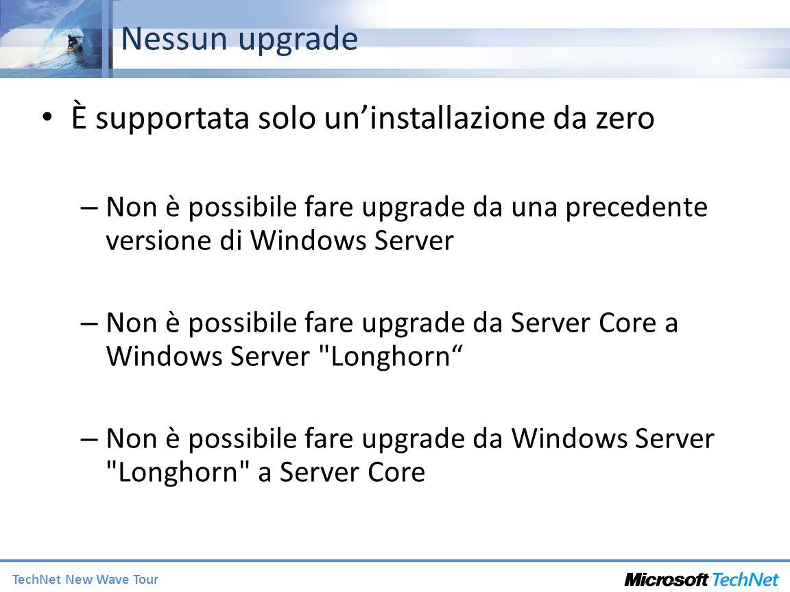 Nessun upgrade È supportata solo un'installazione da zero