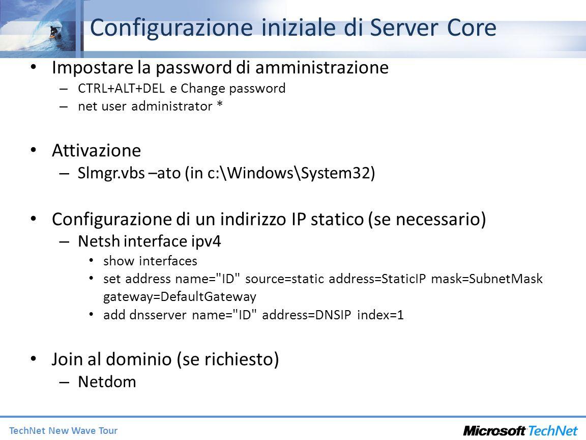 Configurazione iniziale di Server Core