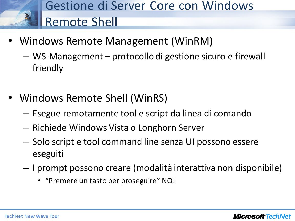Gestione di Server Core con Windows Remote Shell