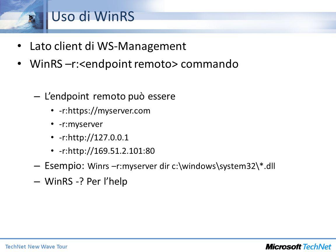Uso di WinRS Lato client di WS-Management