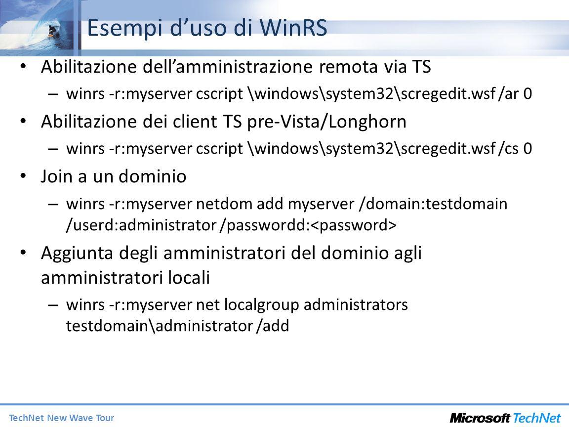 Esempi d'uso di WinRS Abilitazione dell'amministrazione remota via TS