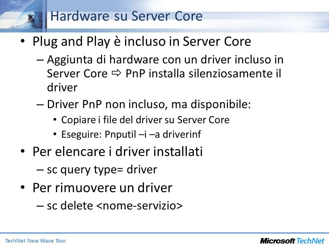 Hardware su Server Core