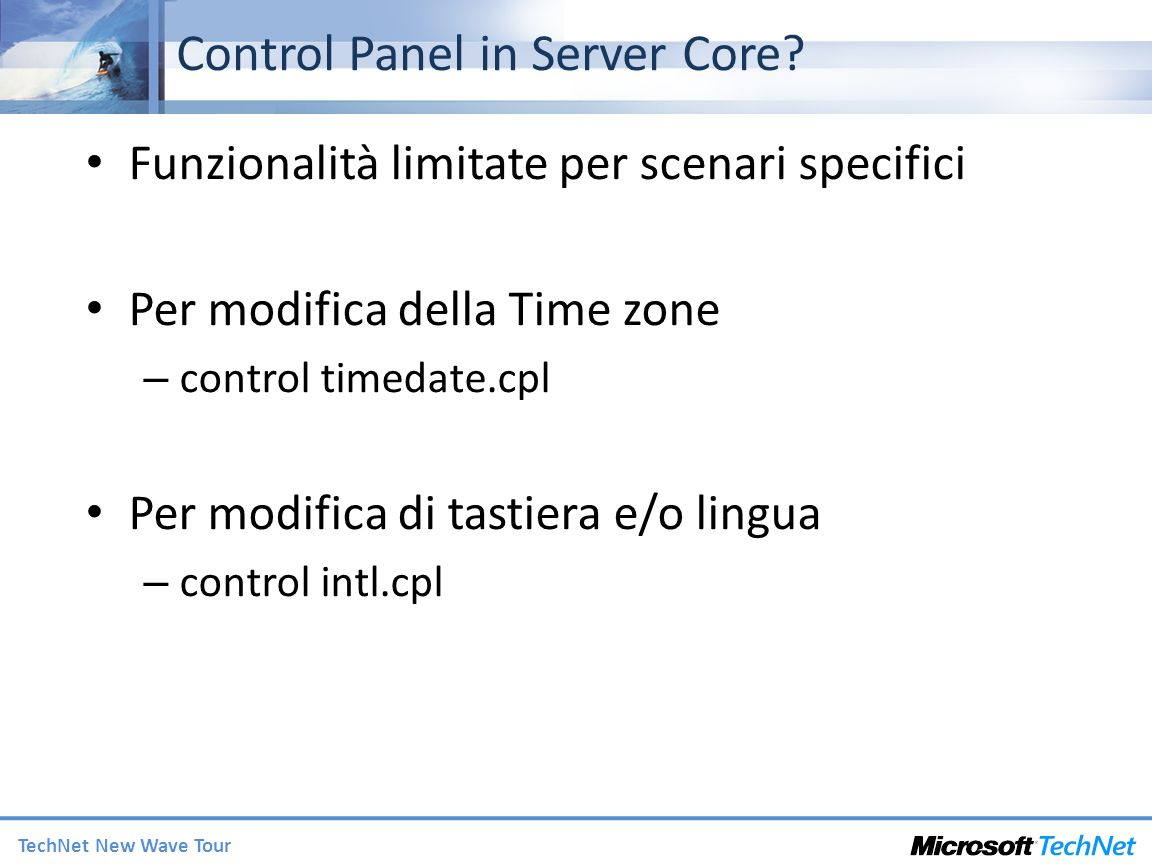 Control Panel in Server Core