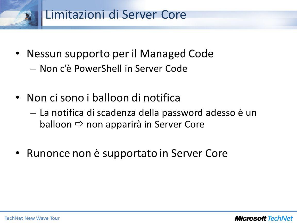 Limitazioni di Server Core