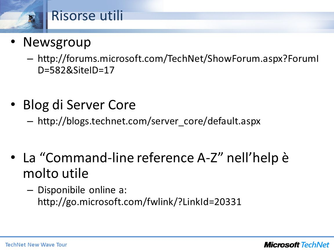 Risorse utili Newsgroup Blog di Server Core