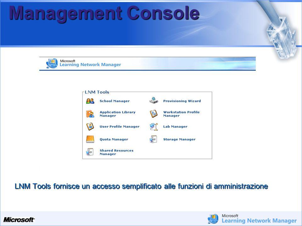 Management Console LNM Tools fornisce un accesso semplificato alle funzioni di amministrazione