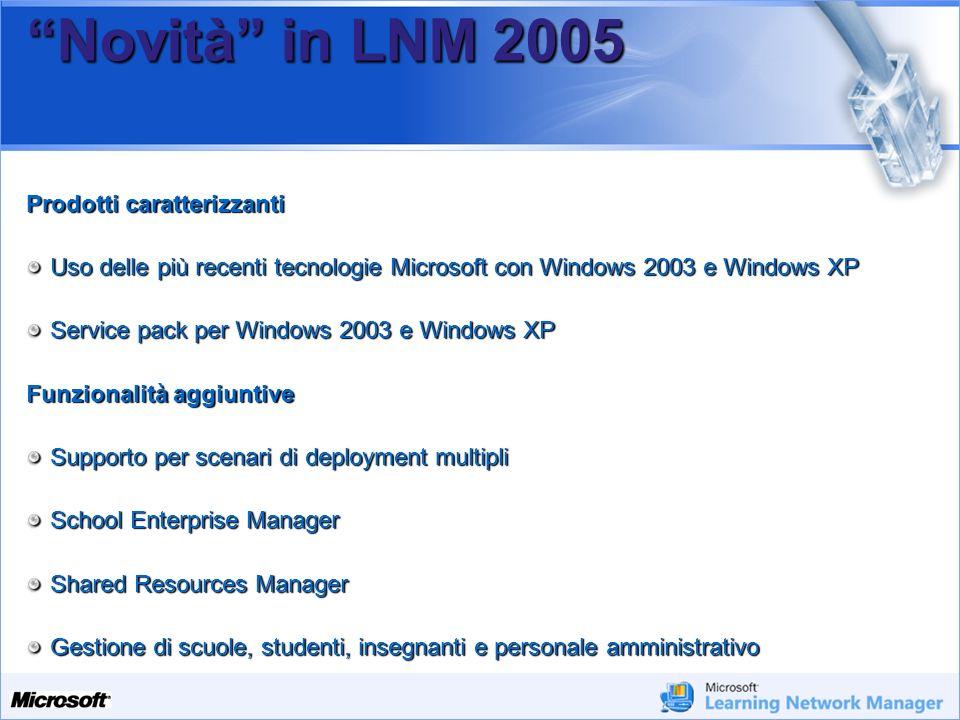 Novità in LNM 2005 Prodotti caratterizzanti