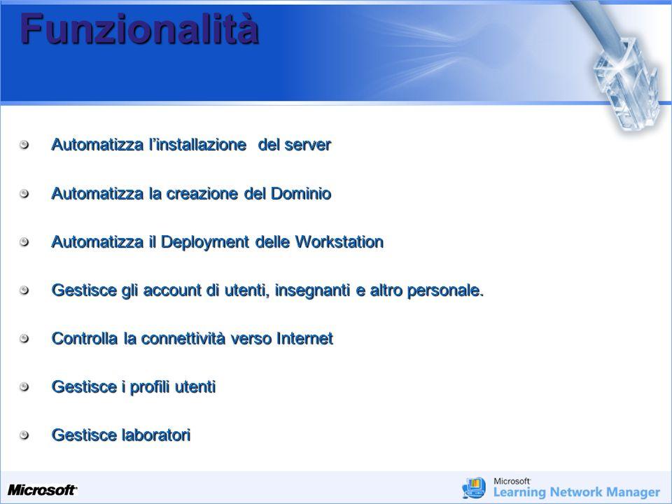 Funzionalità Automatizza l'installazione del server