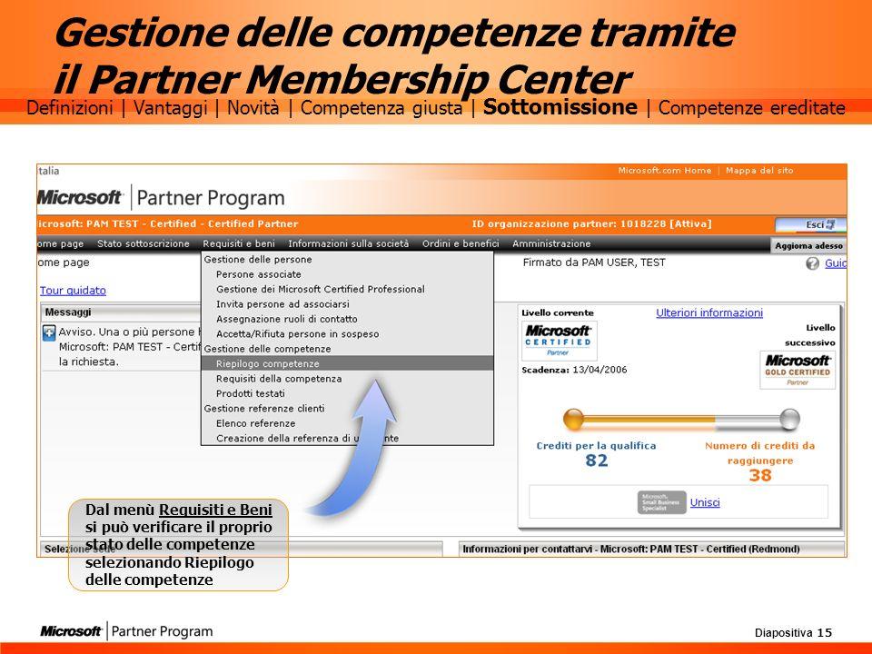 Gestione delle competenze tramite il Partner Membership Center