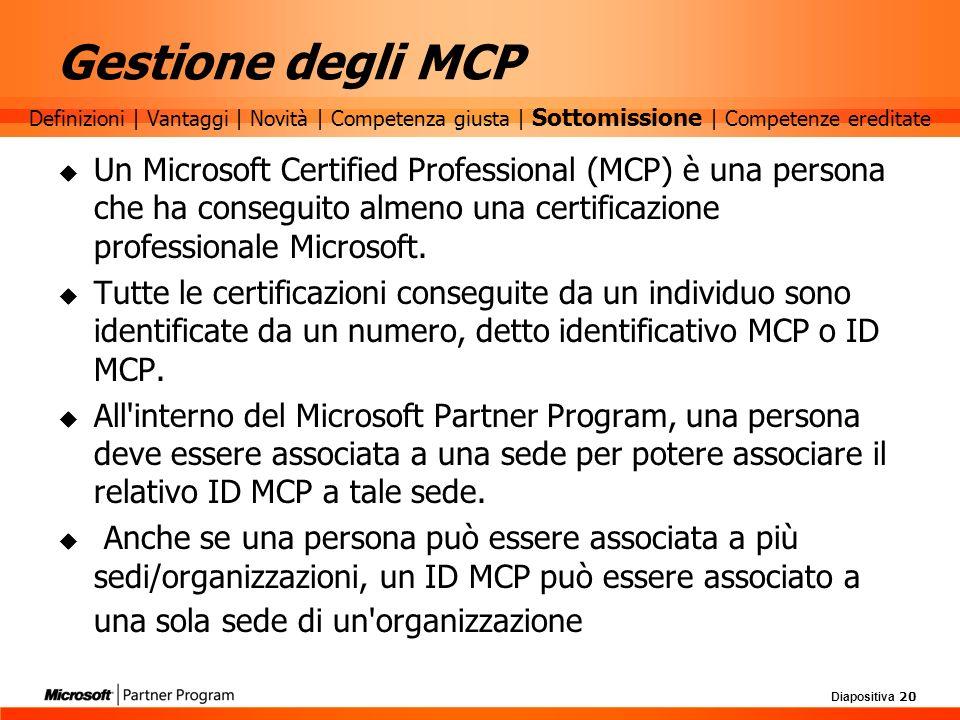 Gestione degli MCP Definizioni | Vantaggi | Novità | Competenza giusta | Sottomissione | Competenze ereditate.