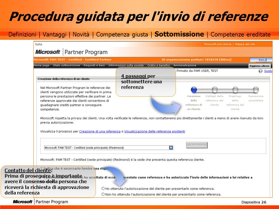 Procedura guidata per l invio di referenze