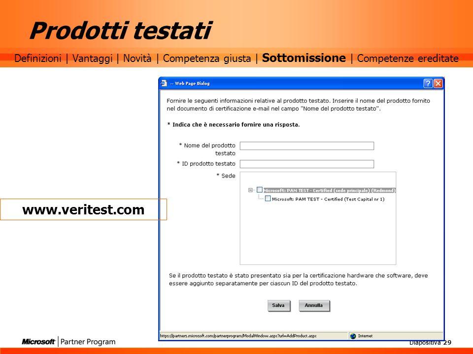Prodotti testati www.veritest.com