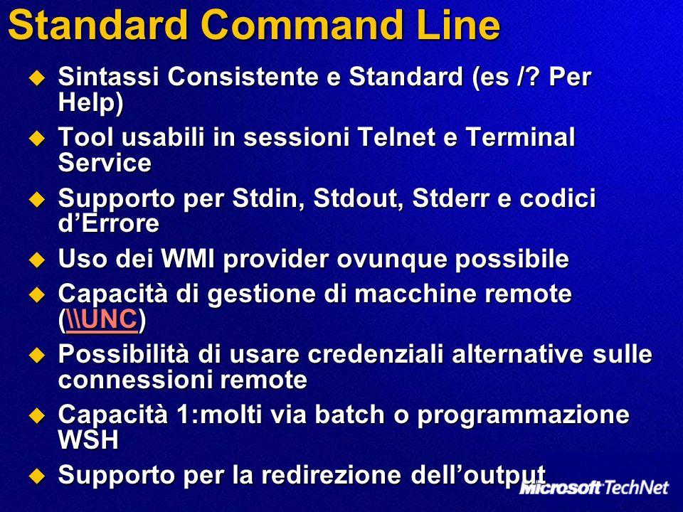 Standard Command Line Sintassi Consistente e Standard (es / Per Help)