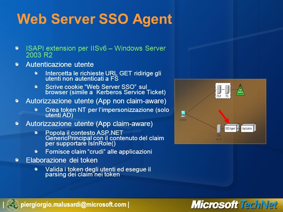 Web Server SSO Agent ISAPI extension per IISv6 – Windows Server 2003 R2. Autenticazione utente.