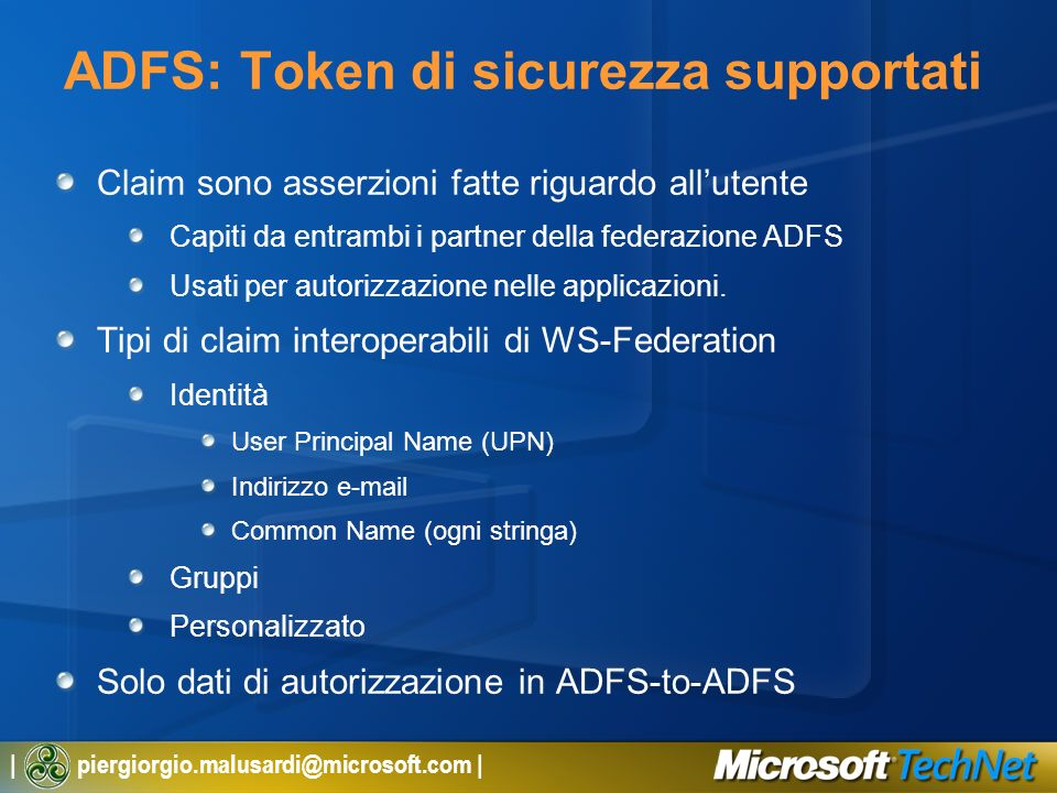 ADFS: Token di sicurezza supportati