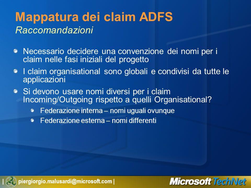 Mappatura dei claim ADFS Raccomandazioni