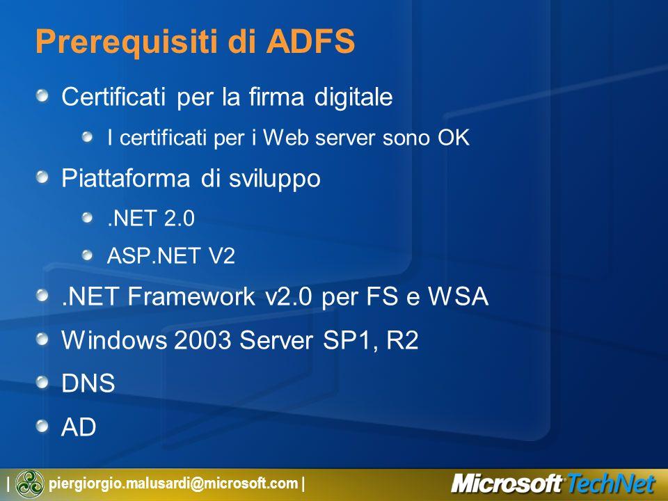 Prerequisiti di ADFS Certificati per la firma digitale