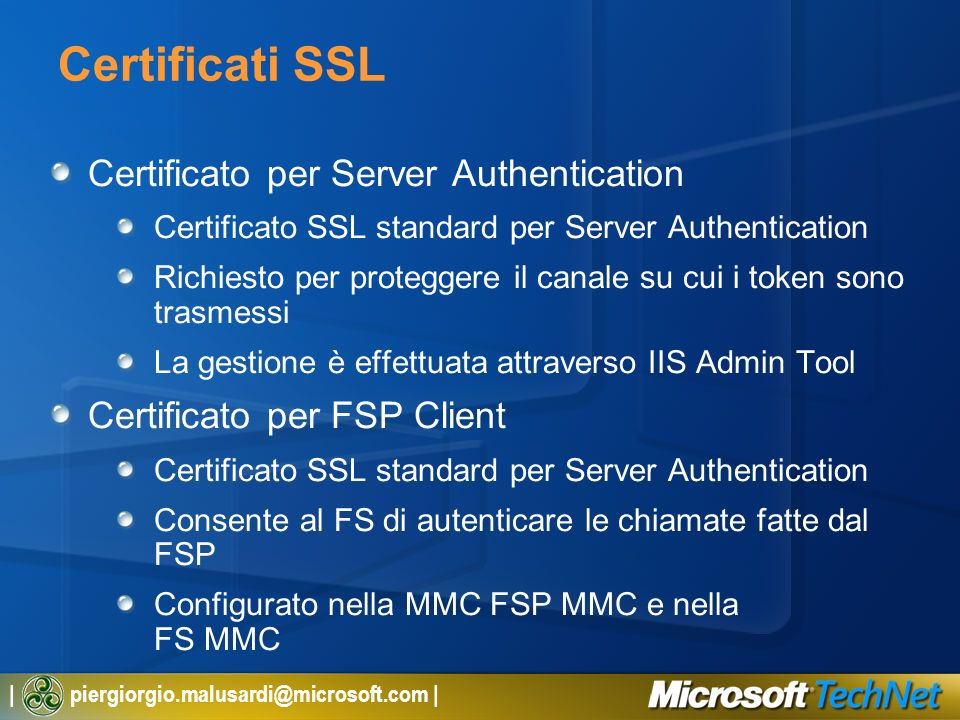 Certificati SSL Certificato per Server Authentication