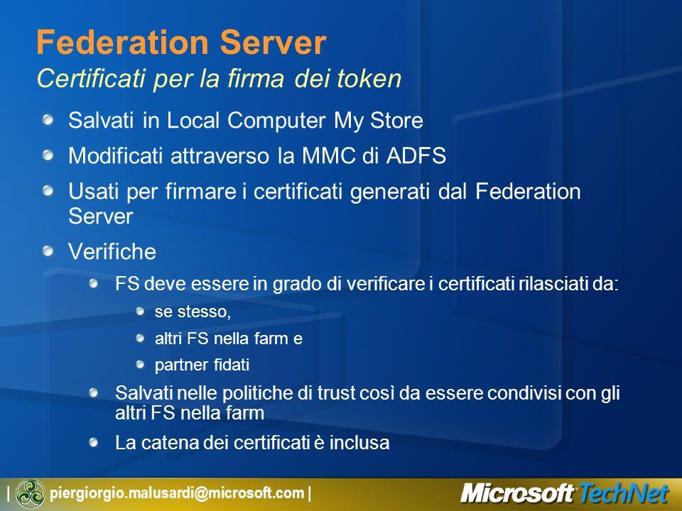 Federation Server Certificati per la firma dei token