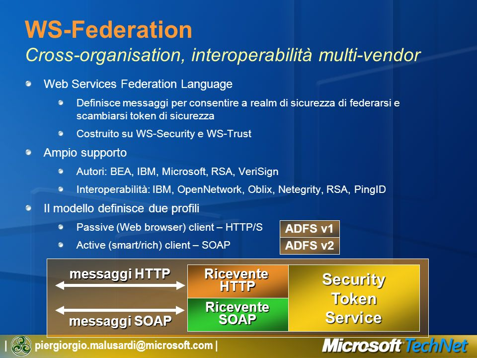 WS-Federation Cross-organisation, interoperabilità multi-vendor