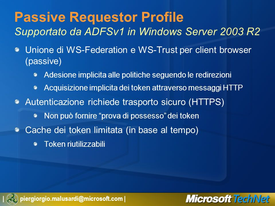 Passive Requestor Profile Supportato da ADFSv1 in Windows Server 2003 R2
