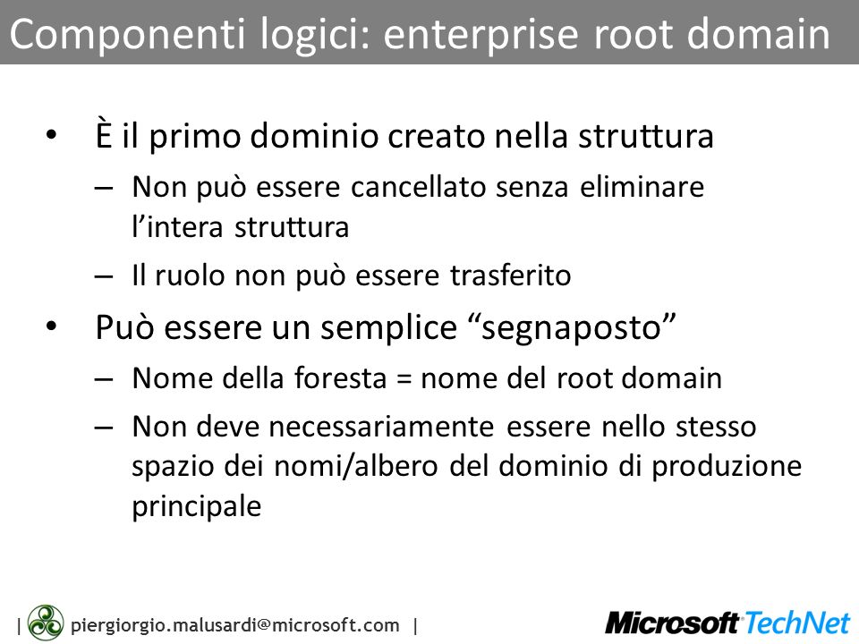Componenti logici: enterprise root domain
