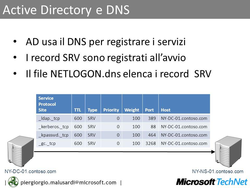Active Directory e DNS AD usa il DNS per registrare i servizi