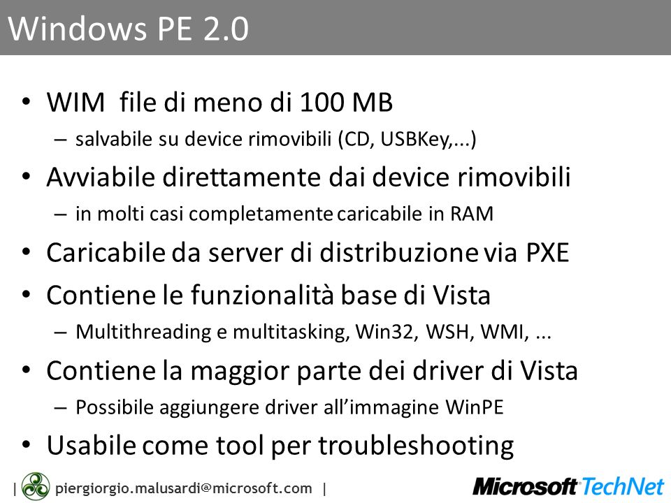 Windows PE 2.0 WIM file di meno di 100 MB
