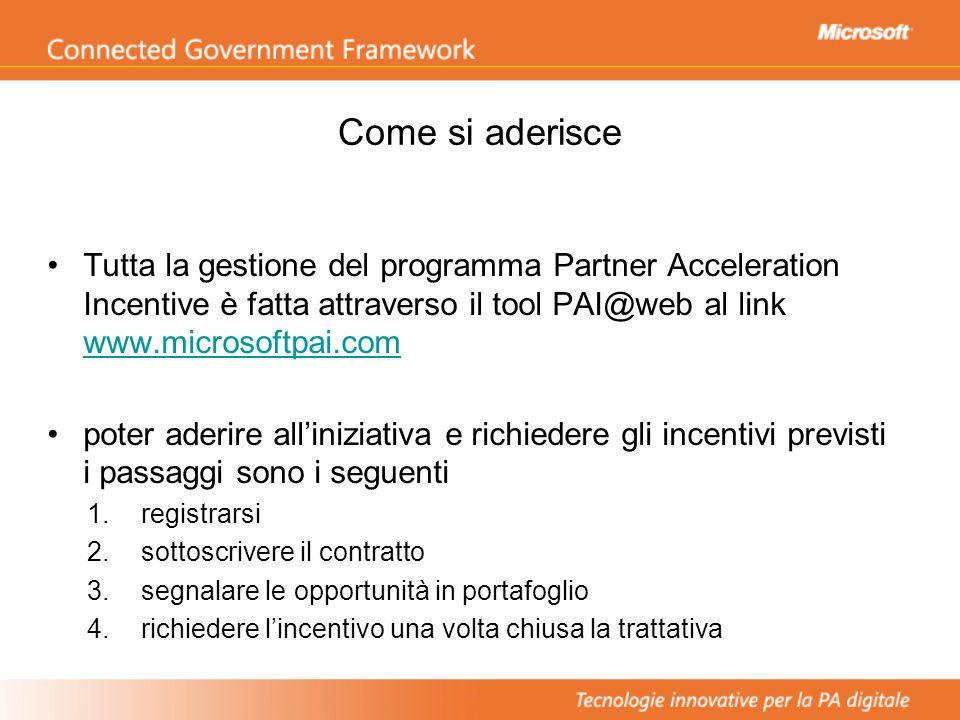 Come si aderisce Tutta la gestione del programma Partner Acceleration Incentive è fatta attraverso il tool PAI@web al link www.microsoftpai.com.