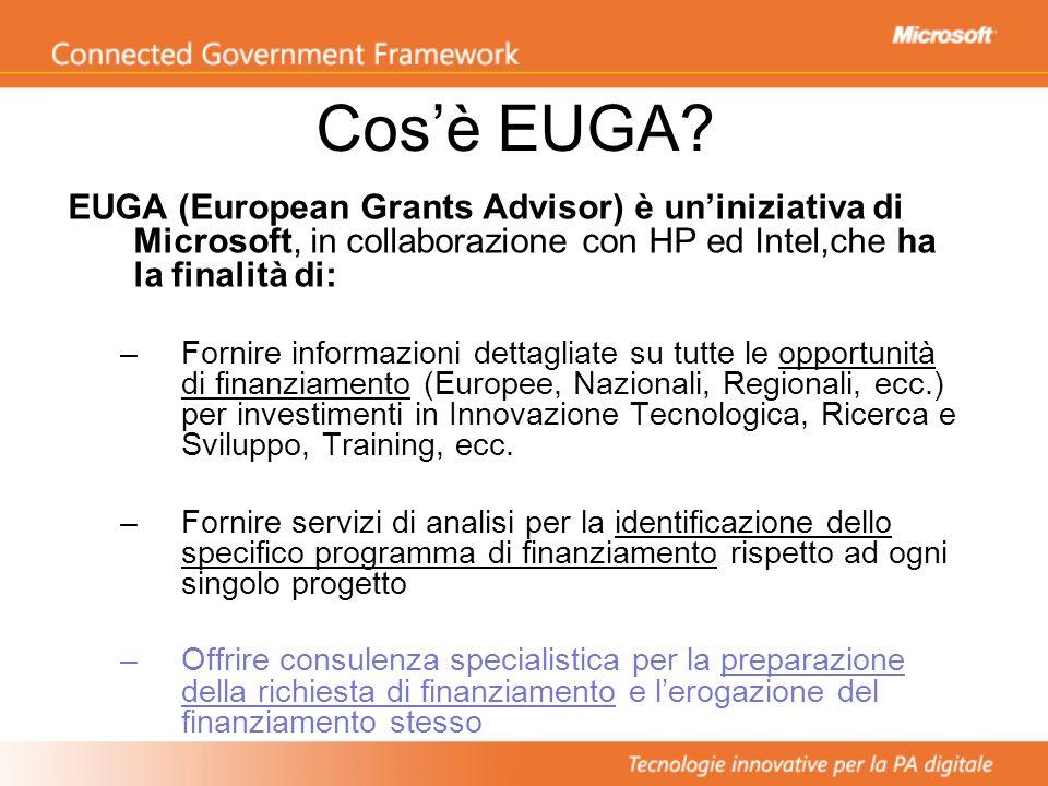 Cos'è EUGA EUGA (European Grants Advisor) è un'iniziativa di Microsoft, in collaborazione con HP ed Intel,che ha la finalità di: