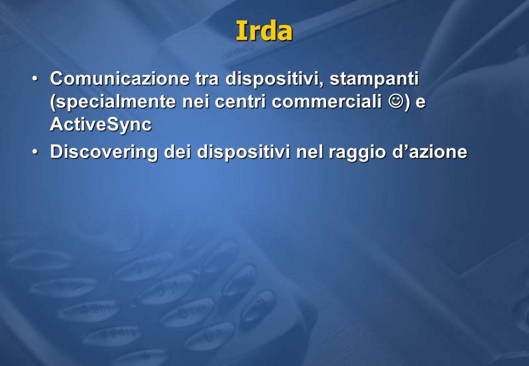 Irda Comunicazione tra dispositivi, stampanti (specialmente nei centri commerciali ) e ActiveSync.