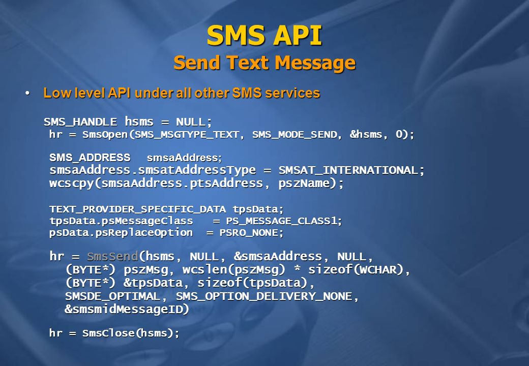 SMS API Send Text Message