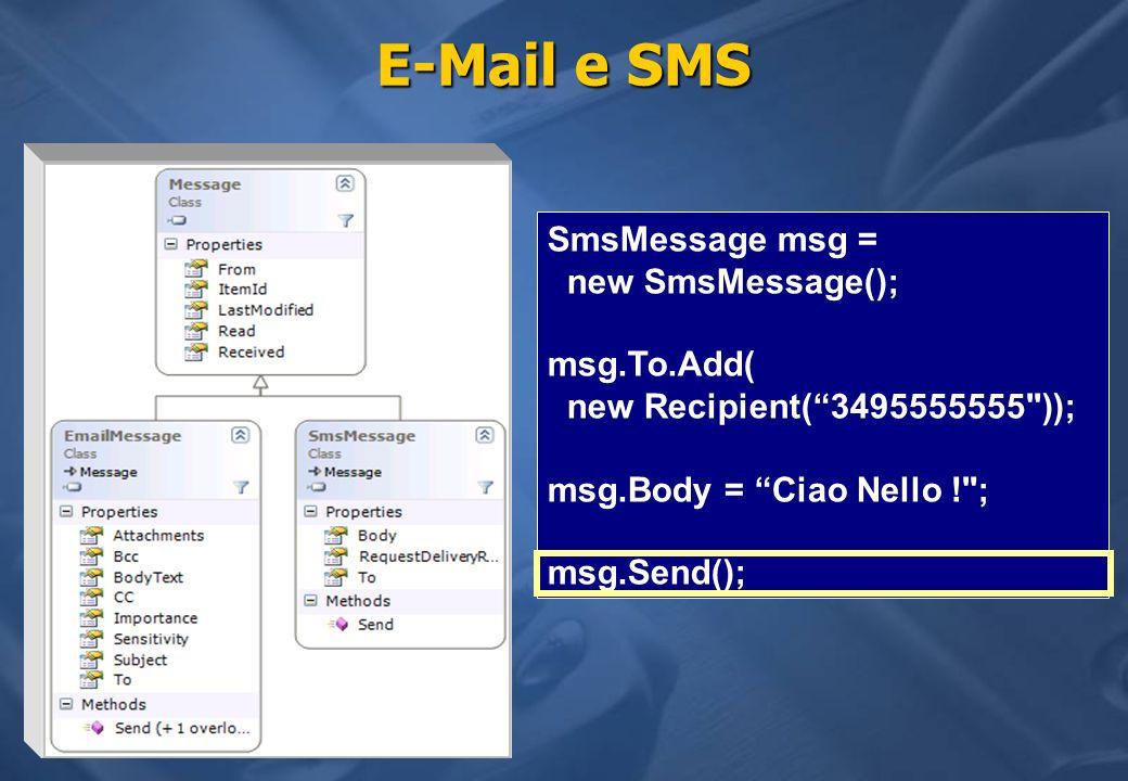 E-Mail e SMS SmsMessage msg = new SmsMessage();