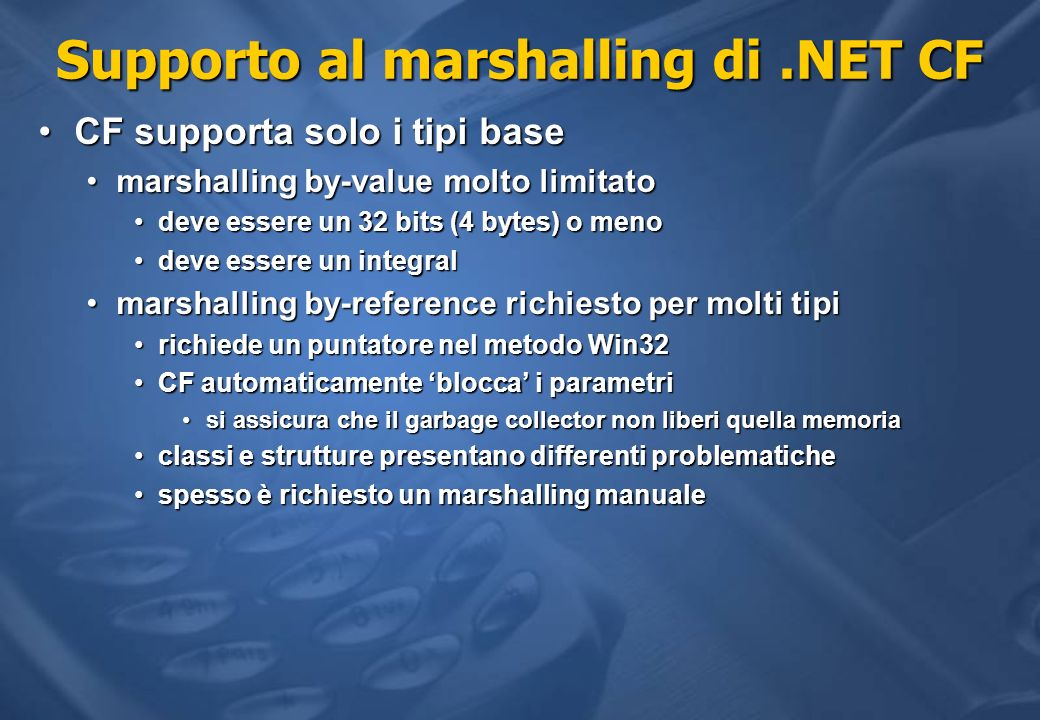 Supporto al marshalling di .NET CF