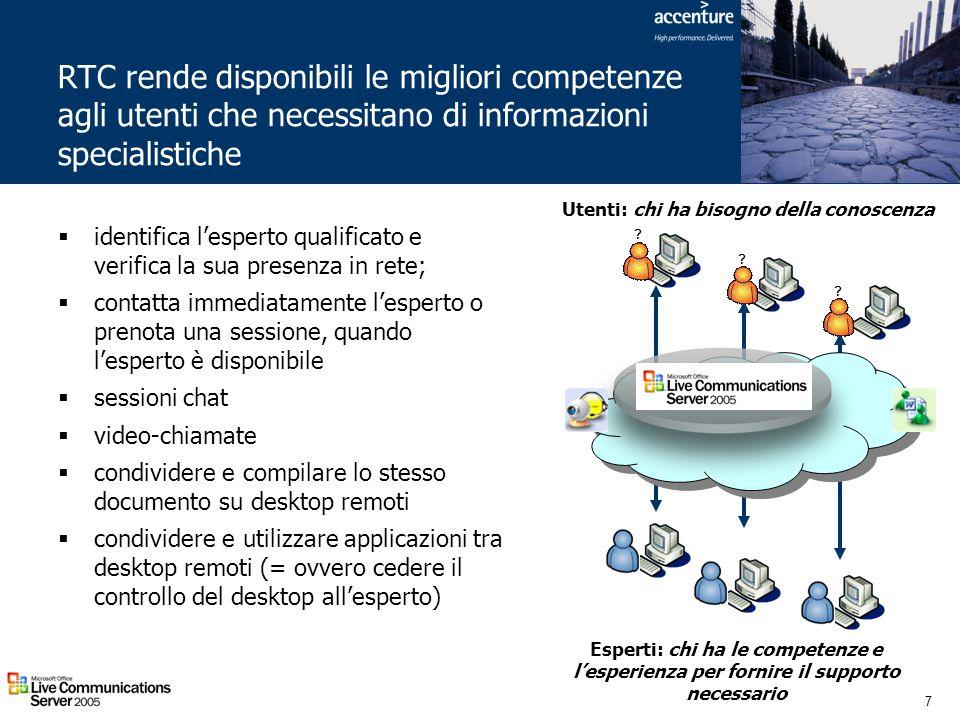 RTC rende disponibili le migliori competenze agli utenti che necessitano di informazioni specialistiche