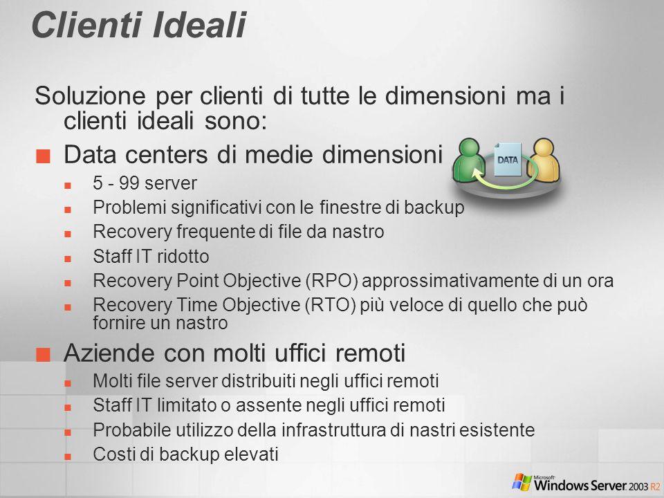 Clienti Ideali Soluzione per clienti di tutte le dimensioni ma i clienti ideali sono: Data centers di medie dimensioni.
