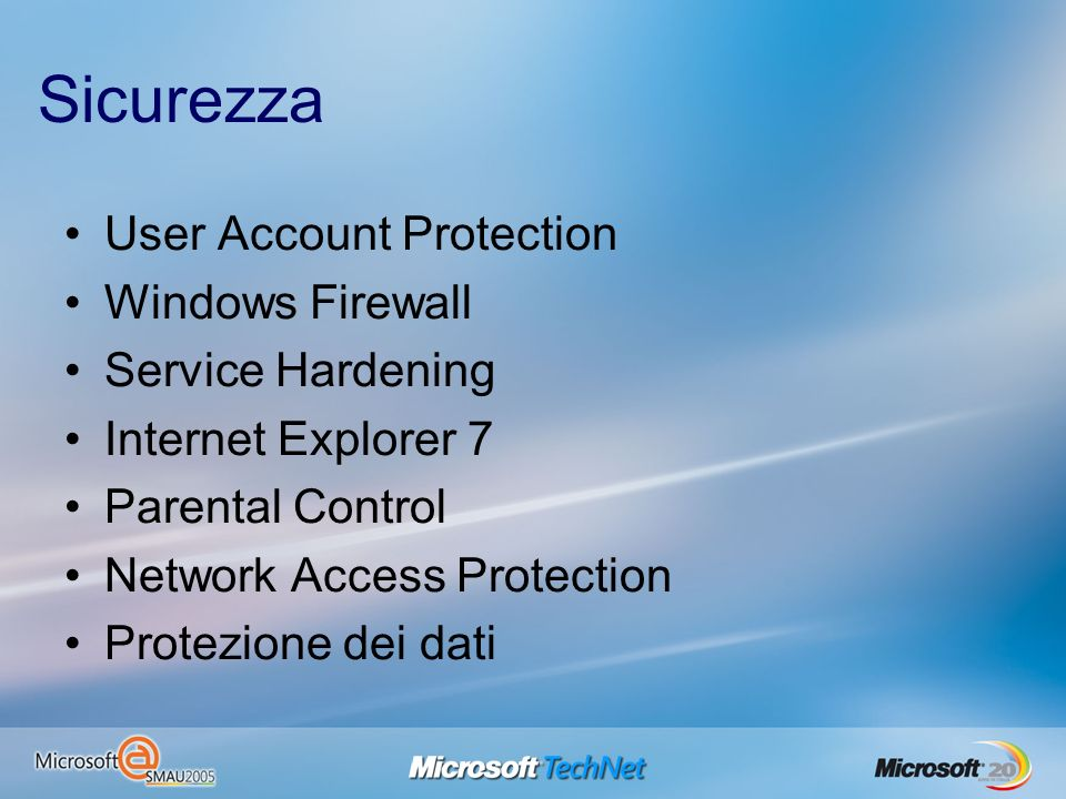 Sicurezza User Account Protection Windows Firewall Service Hardening