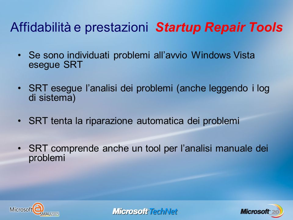Affidabilità e prestazioni Startup Repair Tools