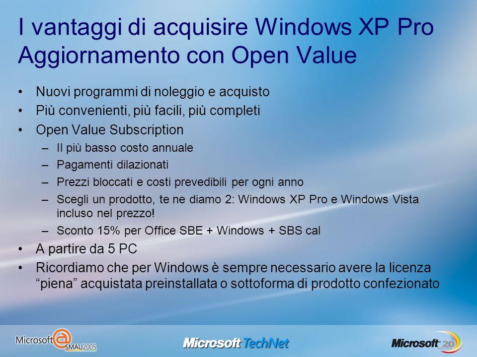 I vantaggi di acquisire Windows XP Pro Aggiornamento con Open Value